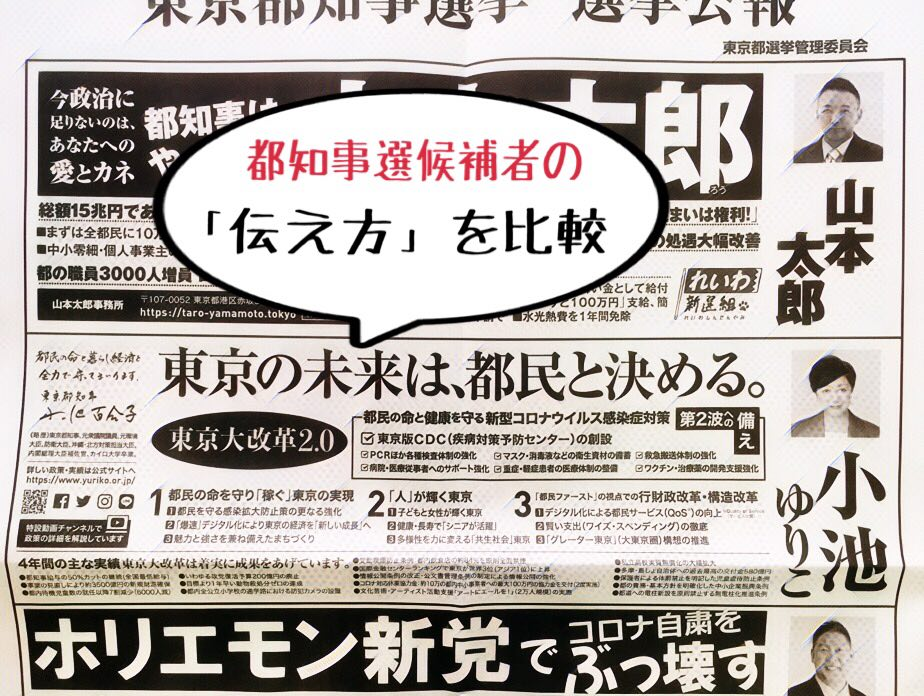 東京都知事選の選挙公報で「良い伝え方」を研究してみた(1: 小池ゆり子候補)