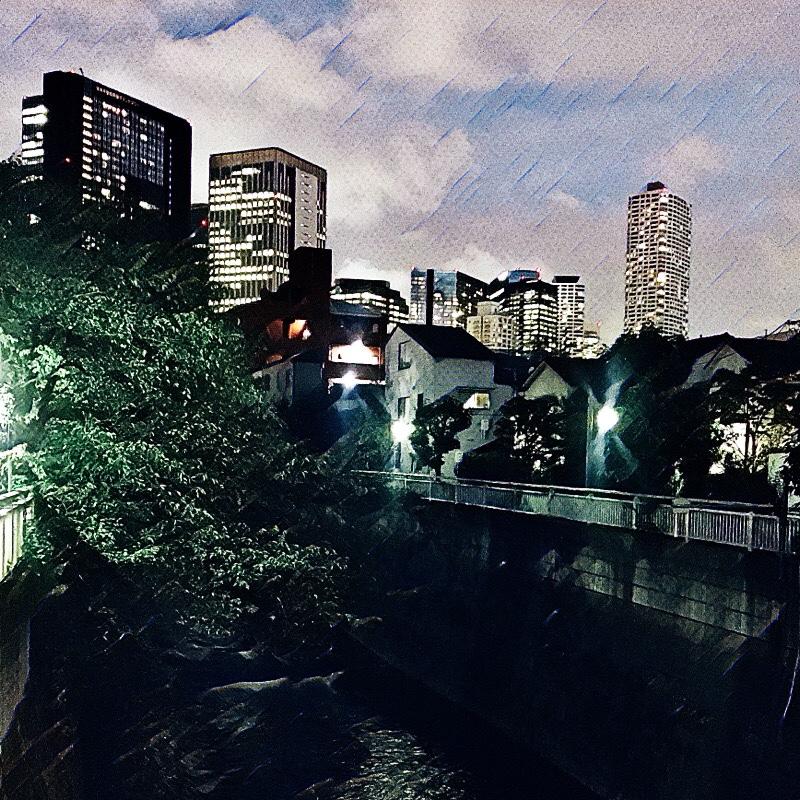 大久保通りと神田川が交わる辺り (末広橋) の様子 (夏の夕暮れ) 2