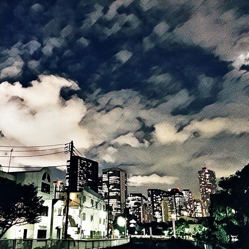 大久保通りと神田川が交わる辺り (西新宿方面) の様子 (夏の夕暮れ) 5