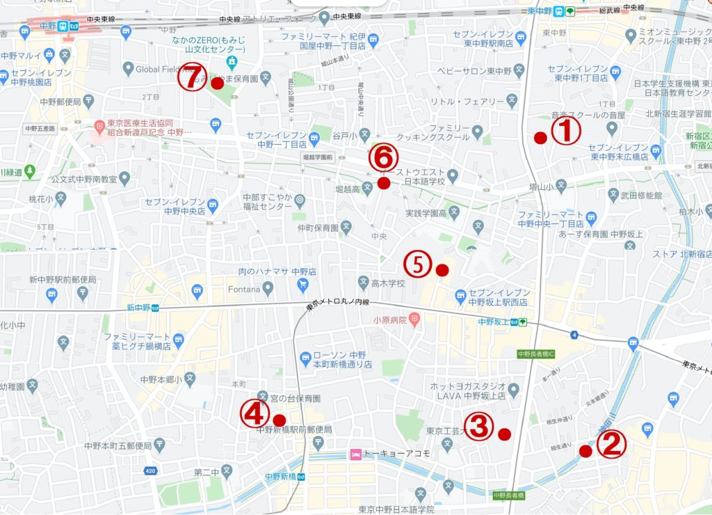 ご近所探検 - 東京都中野区、東中野・中野坂上・中野新橋・中野駅の寺社公園巡り - 中野区南東部を地域発見ウォーキング
