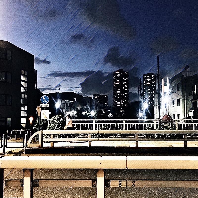 大久保通りと神田川が交わる辺り (末広橋) の様子 (夏の夕暮れ) 1